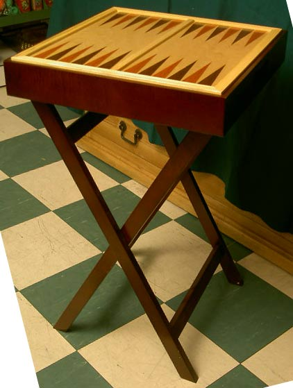 A Wooden Chess And Backgammon Table. The Reversible Board Sits Inside A  Tray Which Has Ample Room Underneath For Keeping Playing Pieces And Even  Other Games ...